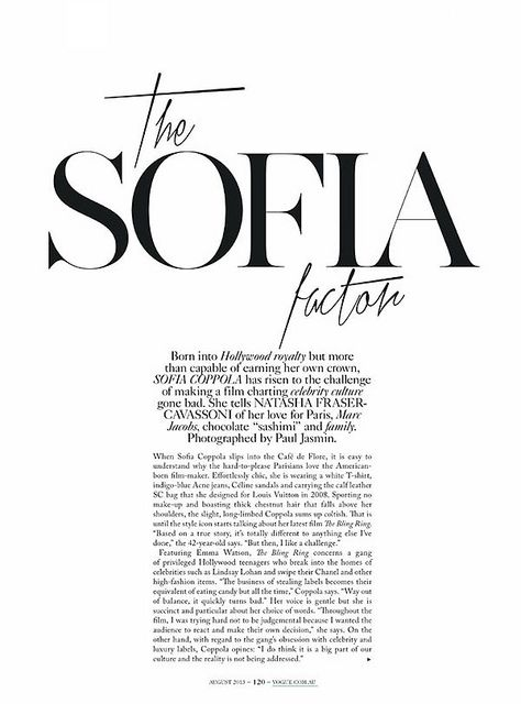 The Sofie Factor Vogue Paris