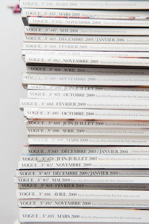 stack of vogue paris magazines