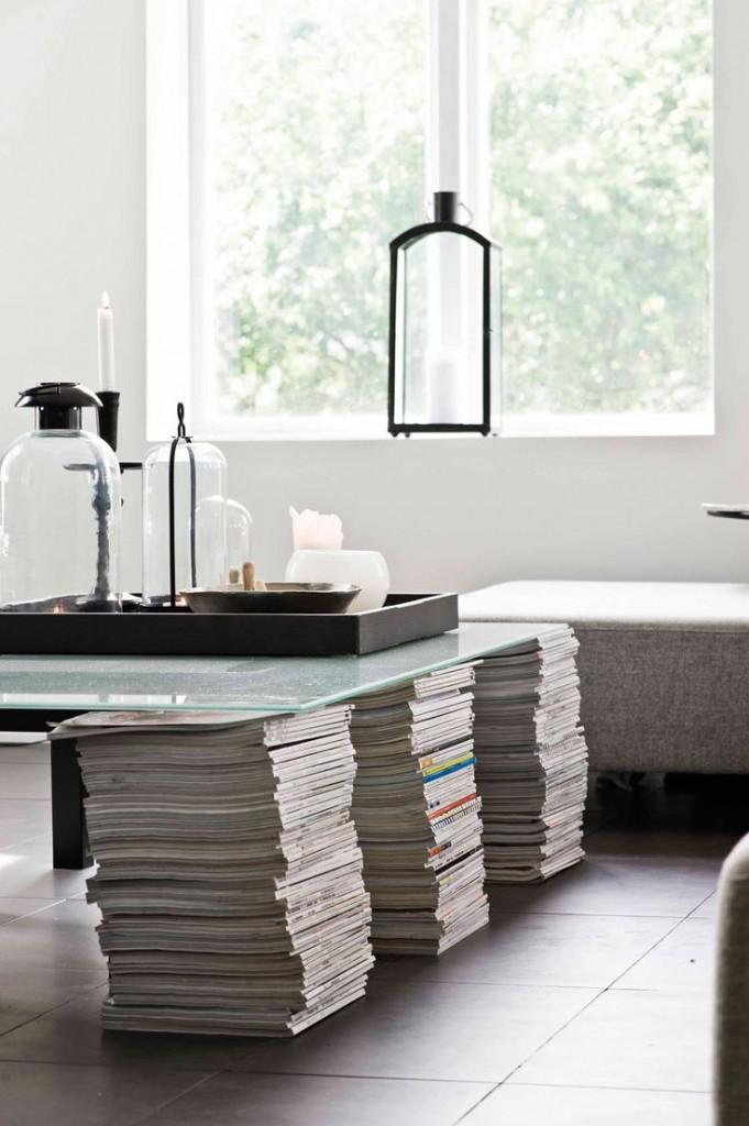 tijdschriften als tafelsteun